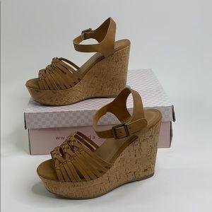 🔥5/$25🔥 SODA tan music cork wedge sandal